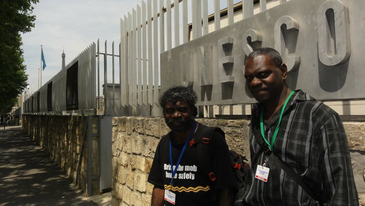 Jeffrey Lee and Stewart Gangali outside UNESCO after the World Heritage Committee decided to inscribe the Koongarra area as World Heritage. Photo Gundjeihmi Aboriginal Corporation