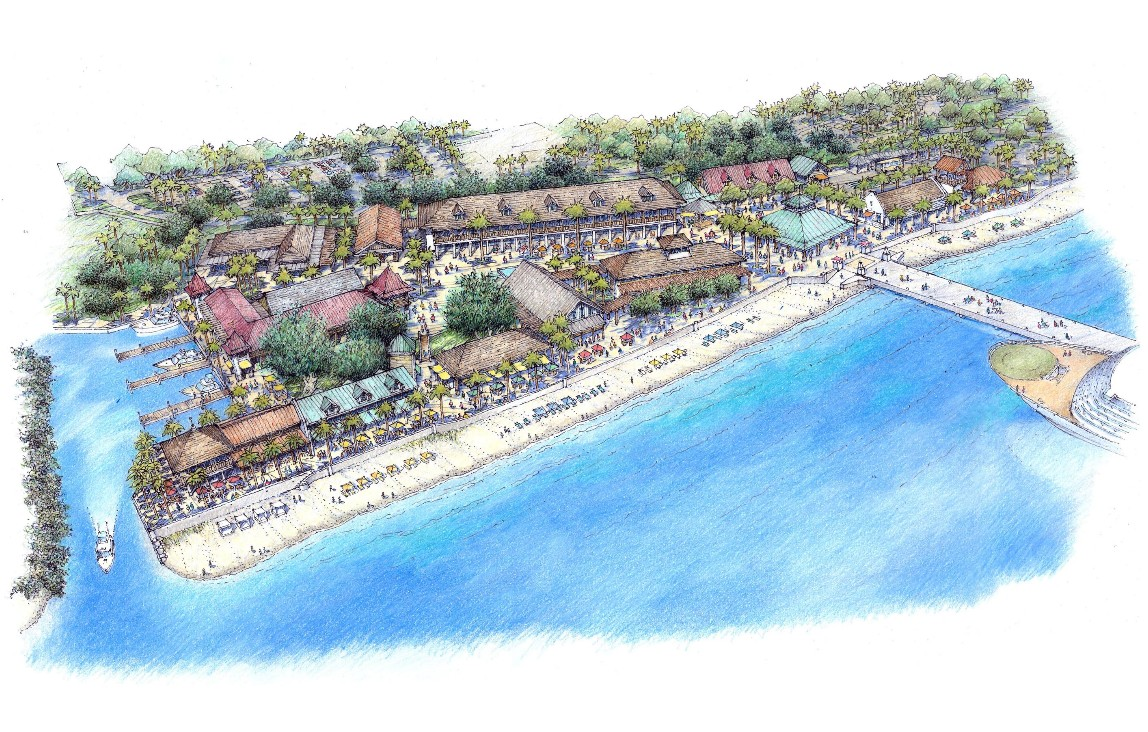 Artist rendering of the proposed 50,000 square foot Ocean Front Commercial Center. Source: lifevisionproperties.wordpress.com
