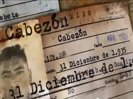 "Cabezón, the ""mock name"" featured on this government issued ID card, is  the Spanish word for ""stubborn"" or ""big-headed"". Photo from the film ""Nacimos el 31 de diciembre"""