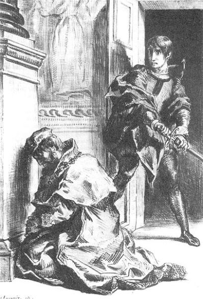 Freud suggested that an unconscious oedipal conflict caused Hamlet's hesitations. (Artist: Eugène Delacroix 1844).