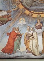 Dante and Beatrice speak to Piccarda and Constance of Sicily, in a fresco by Philipp Veit, Paradiso, Canto 3.