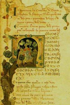Detail of a manuscript in Milan's Biblioteca Trivulziana (MS 1080), written in 1337 by Francesco di ser Nardo da Barberino, showing the beginning of Dante's Comedy.