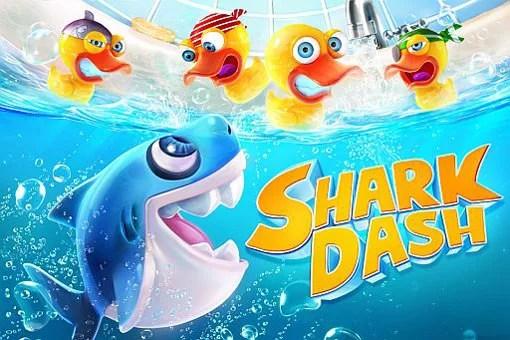 かわいいサメちゃんをジャンプさせてアヒルをパックンするアクションパズルゲーム『SharkDash』。