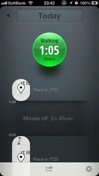 移動ログを「時間」で表示。