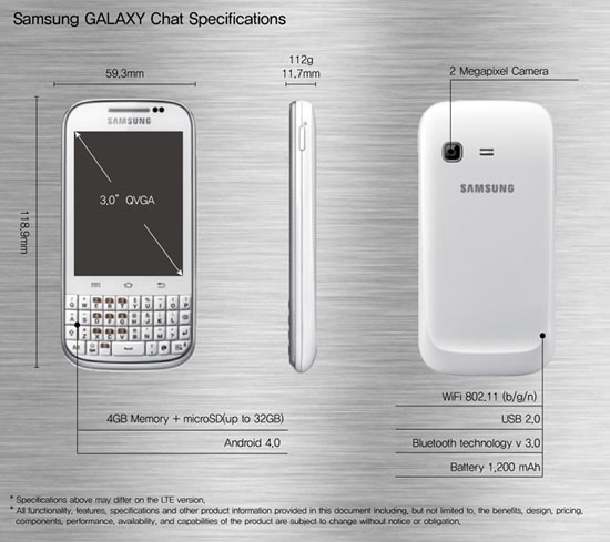 Samsung GALAXY Chat specifications