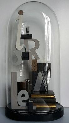 letters in glazen stolp