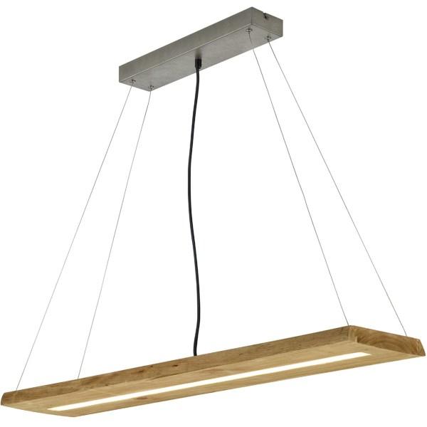 LED Hanglamp - Trion Brida - 27W - Warm Wit 3000K - 1-lichts - Dimbaar - Rechthoek - Mat Bruin - Natuurhout