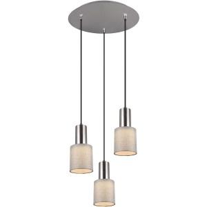 LED Hanglamp - Trion Waler - GU10 Fitting - 3-lichts - Rond - Mat Nikkel - Aluminium