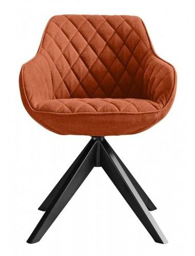 RV Design Arvid Eetkamestoel Stof Oranje met zwarte poten
