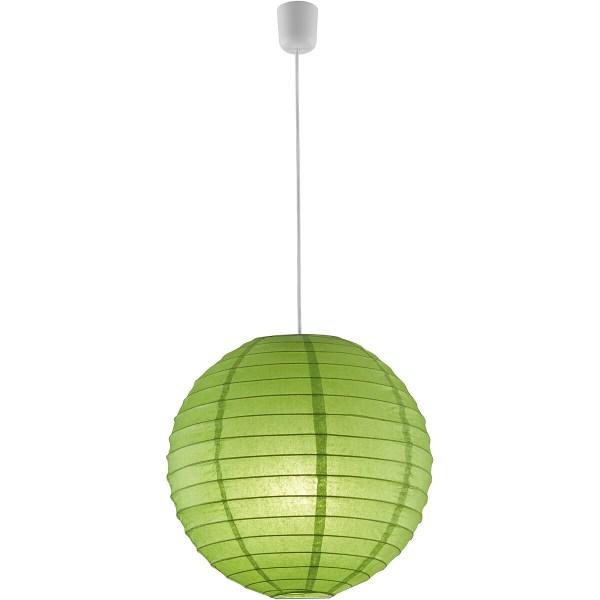 LED Hanglamp - Hangverlichting - Trion Ponton - E27 Fitting - Rond - Mat Groen - Papier