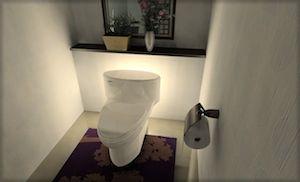 無機質な間接照明だけのトイレ