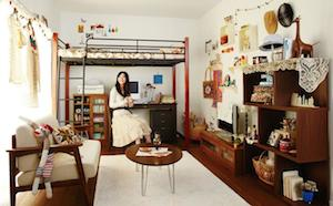 二段ベッドを使って部屋を広々と有効活用したコーディネート