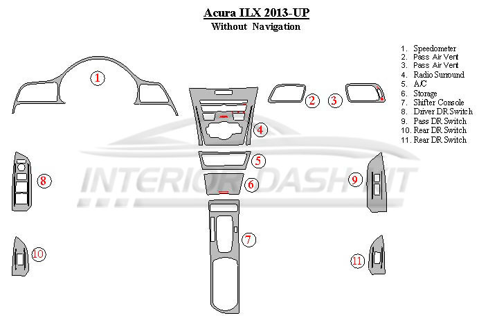 Acura ILX 2013-UP Dash Trim Kit (Without Navigation