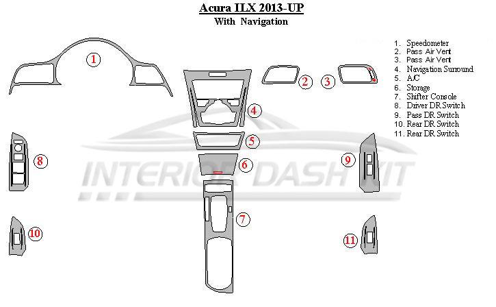 Acura ILX 2013-UP Dash Trim Kit (With Navigation