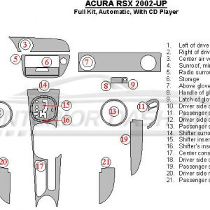 Acura RSX 2002-2006 Dash Trim Kit (Full Kit, Manual, With