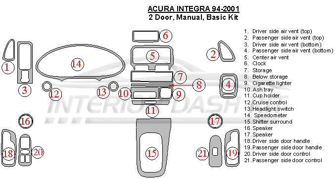 Acura Integra 1994-2001 Dash Trim Kit (2 Doors, Basic Kit