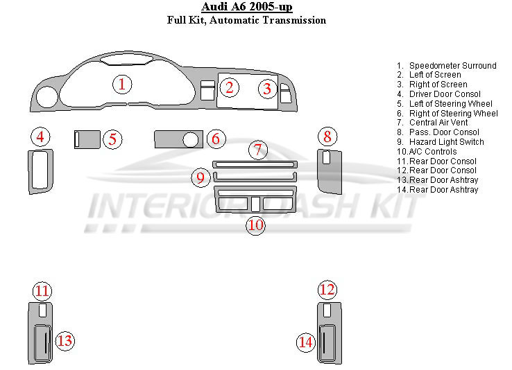 Audi A6 2005-2011 Dash Trim Kit (Full Kit, Automatic