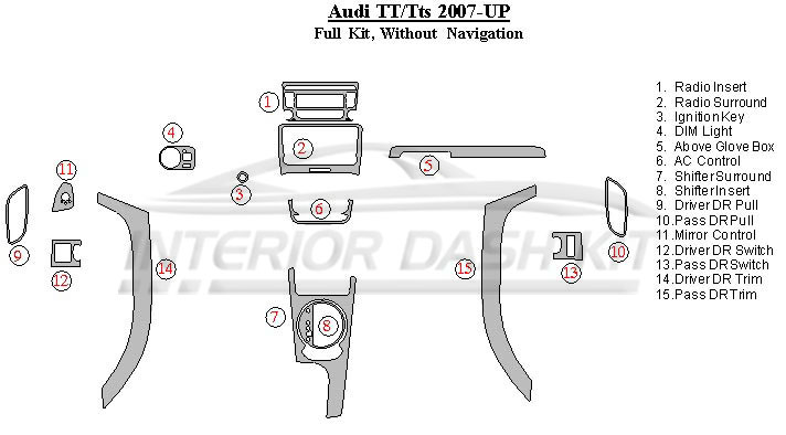 Audi TT 2007-UP Dash Trim Kit (Full Kit, Without