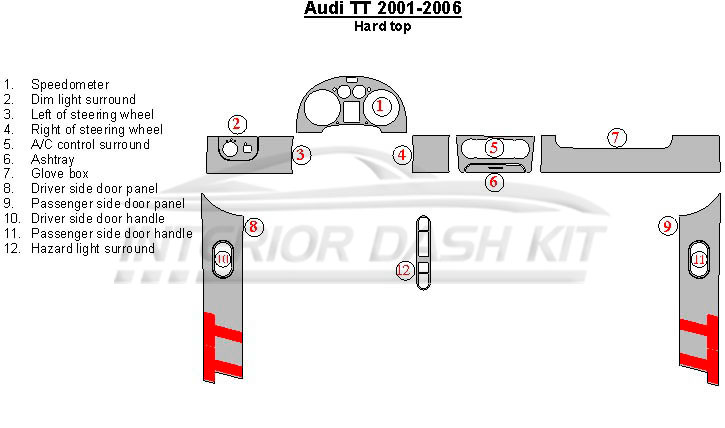 Audi TT 2001-2006 Dash Trim Kit (Hard Top, 12 Pcs