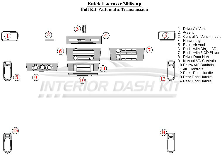 Buick LaCrosse 2005-2009 Dash Trim Kit (Full Kit