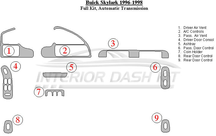 Buick Skylark 1996-1998 Dash Trim Kit (Full Kit, Automatic