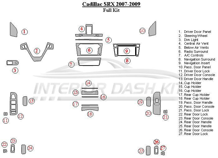 Cadillac SRX 2007-2009 Dash Trim Kit (Basic Kit