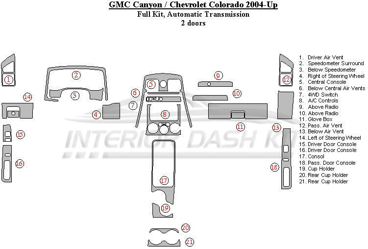 Chevrolet Colorado 2004-2012 Dash Trim Kit (Full Kit