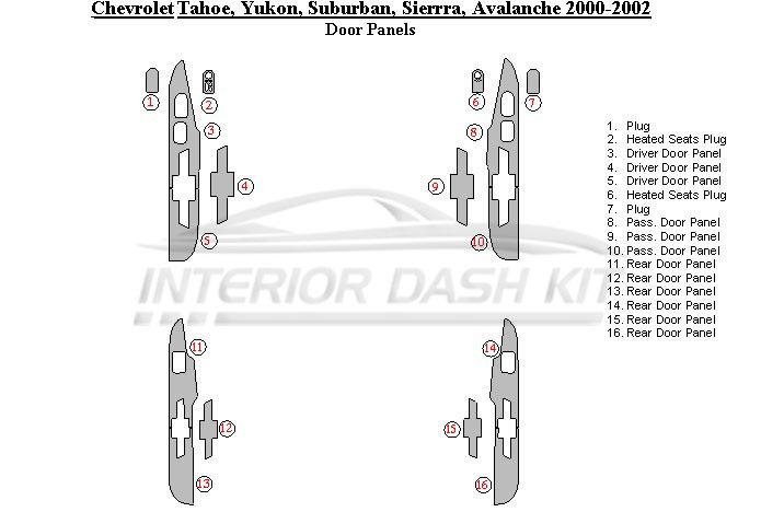 Chevrolet Suburban 2000-2002 Dash Trim Kit (Door Panels