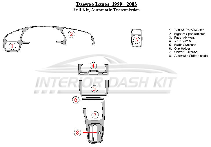 Daewoo Lanos 1999-2003 Dash Trim Kit (Full Kit, Automatic