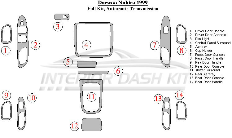 Daewoo Nubira 1999 Dash Trim Kit (Full Kit, Automatic