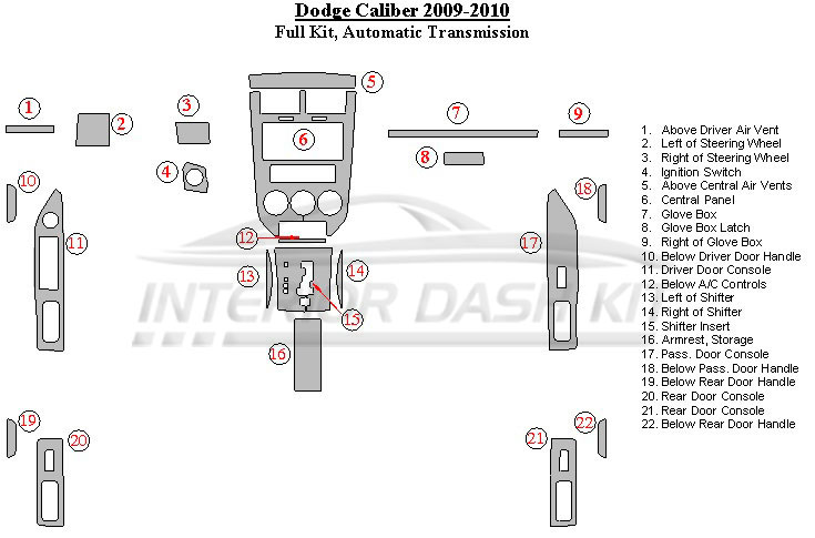 Dodge Caliber 2009-2010 Dash Trim Kit (Full Kit, Automatic