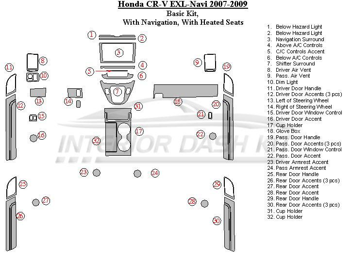 Honda CR-V 2007-2009 Dash Trim Kit (Medium Kit, With