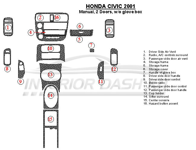 Honda Civic 2001 Dash Trim Kit (Manual, 2 Doors, Without