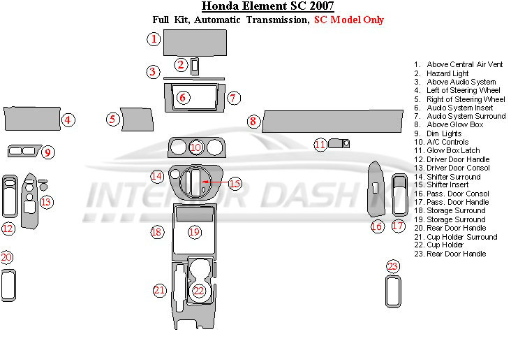 Honda Element 2007-2011 Dash Trim Kit (SC Model, Full Kit