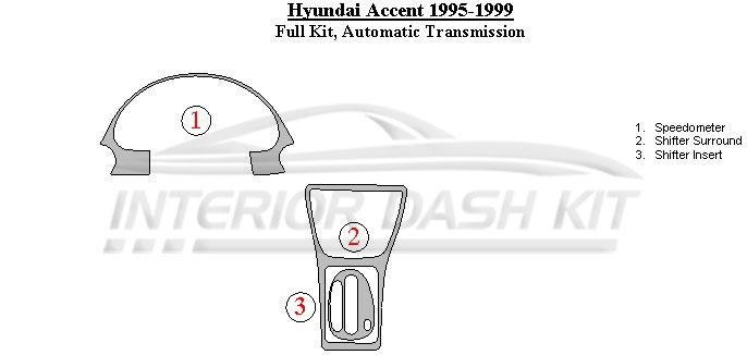 Hyundai Accent 1995-1999 Dash Trim Kit (Full Kit