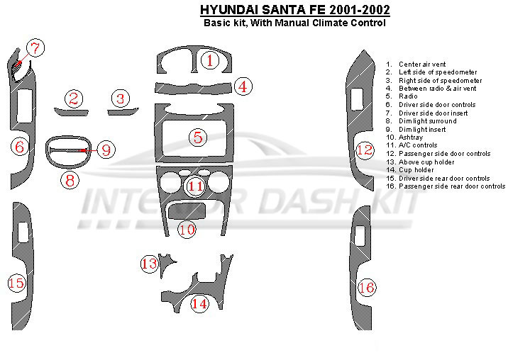 Hyundai Santa Fe 2001-2002 Dash Trim Kit (Basic Kit, With