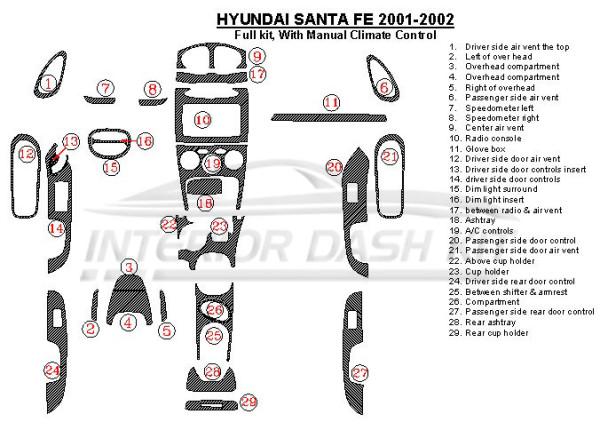 Hyundai Santa Fe 2001-2002 Dash Trim Kit (Full Kit, With