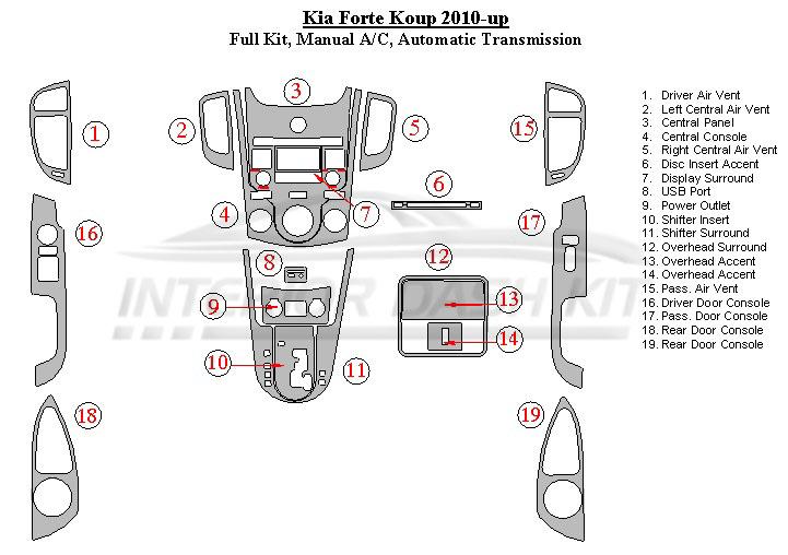 KIA Forte Koup 2010 Dash Trim Kit (Medium Kit, Manual AC