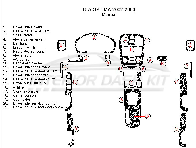 KIA Optima 2002-2003 Dash Trim Kit (Manual)