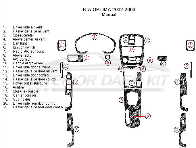 KIA Optima 2002-2003 Dash Trim Kit (Manual)
