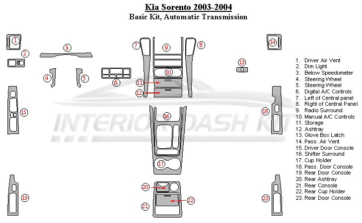KIA Sorento 2003-2004 Dash Trim Kit (Basic Kit, Automatic