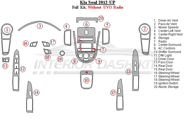 KIA Soul 2012-UP Dash Trim Kit (Full Kit, Without UVO