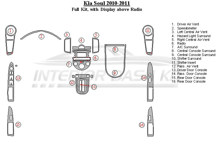 KIA Soul 2010-2011 Dash Trim Kit (Full Kit, With Display