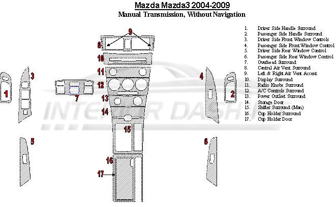 Mazda Mazda3 2004-2009 Dash Trim Kit (Manual Transmission