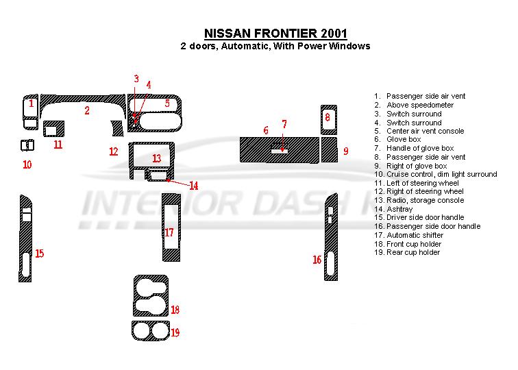 Nissan Frontier 2001 Dash Trim Kit (Automatic, 2 Doors