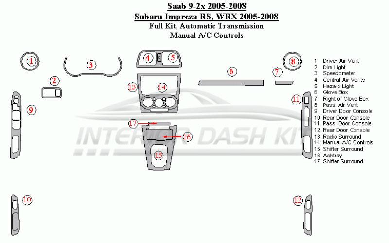 Subaru Impreza RS 2005-2007 Dash Trim Kit (Full Kit