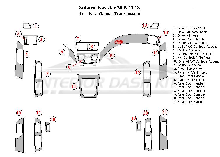 Subaru Forester 2009-2013 Dash Trim Kit (Full Kit, Manual
