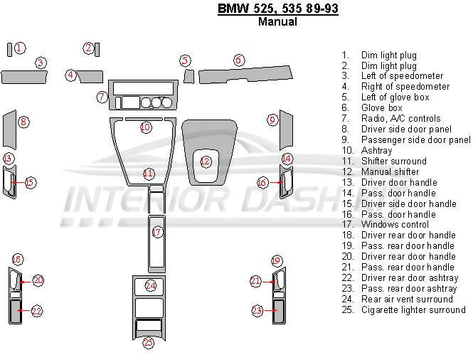 BMW 5 Series 1989-1993 Dash Trim Kit (Manual, 25 Pcs