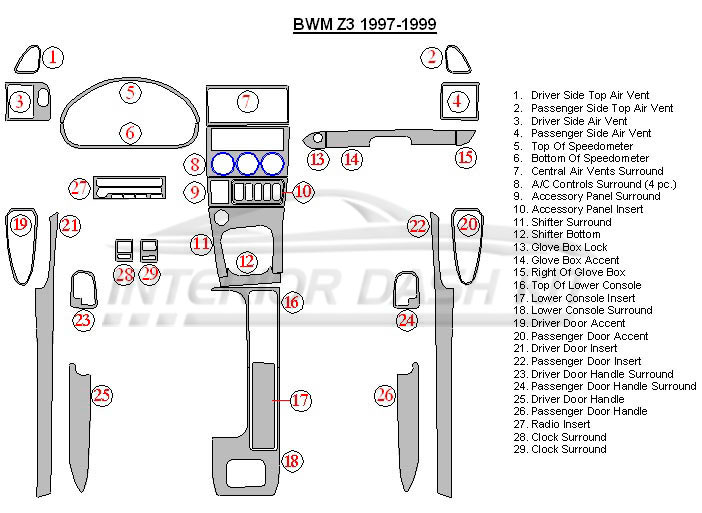BMW Z3 1997-1999 Dash Trim Kit (Full Kit)