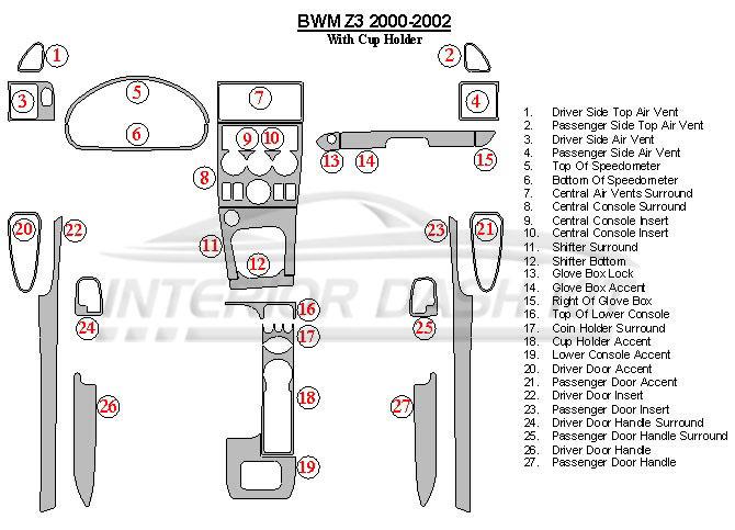 BMW Z3 2000-2003 Dash Trim Kit (With Cup Holder